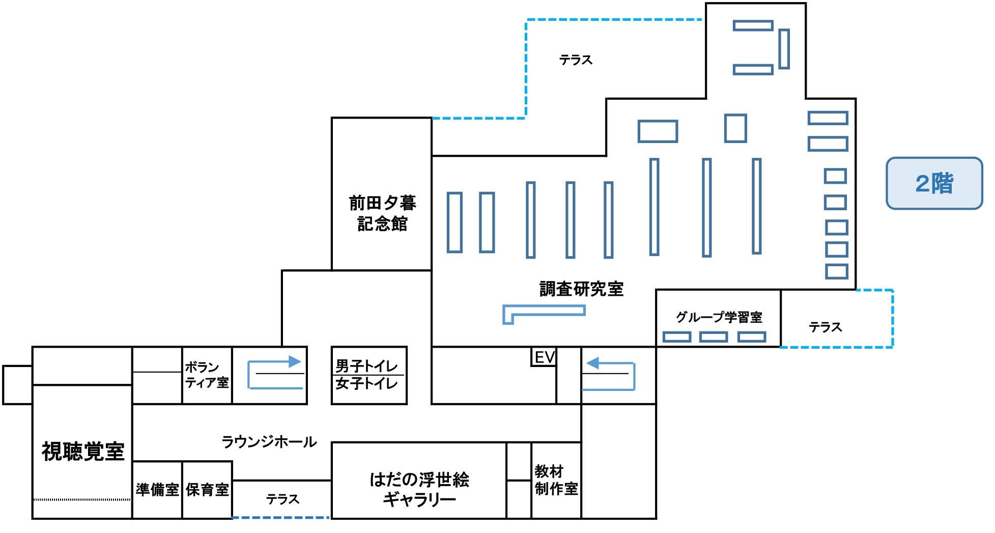 秦野市立図書館2階の平面図の画像